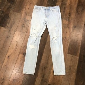 Men's TopMan Ltd Distressed Denim